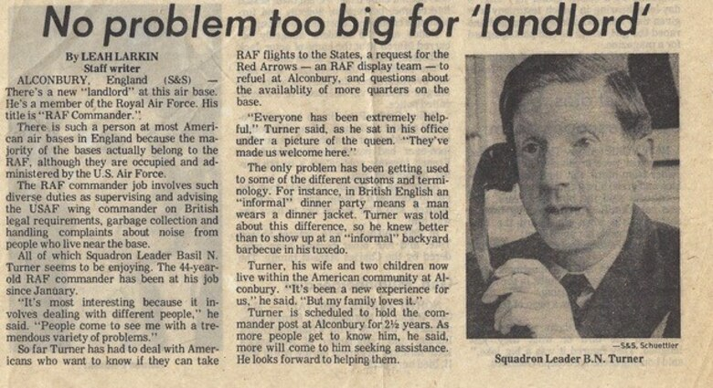 RAF Alconbury news clipping of Squadron Leader Basil Turner. (Courtesy photo)