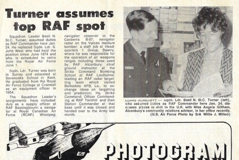 Newspaper clipping about Squadron Leader Basil Turner assuming duties as RAF Commander of RAF Alconbury in the 1970's. (Courtesy photo)