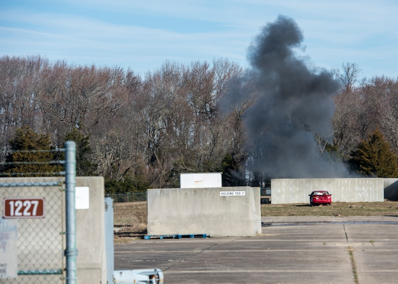 A cloud of smoke remains after an explosion.