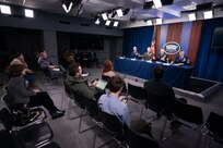 Combatant command senior enlisted leaders speak to members of the Pentagon press during the 2019 Defense Senior Enlisted Leader Council event in the Pentagon Press Briefing Room, Washington, D.C., Dec. 9, 2019.