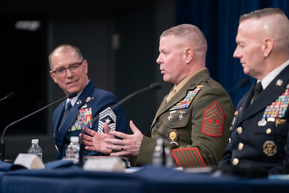 Army Command Sgt. Maj. John Wayne Troxell, Senior Enlisted Advisor to the chairman of the Joint Chiefs of Staff (SEAC), hosts a press briefing on the emerging domains of space and cyber in the Pentagon Press Briefing Room, Washington, D.C., Dec. 9, 2019. Air Force Chief Master Sgt. Roger Towberman, U.S. Space Command Senior Enlisted Leader; Marine Corps Master Gunnery Sgt. Scott Stalker, U.S. Cyber Command Senior Enlisted Leader; and Air Force Chief Master Sgt. Patrick F. McMahon, U.S. Strategic Command Senior Enlisted Leader; joined Troxell to speak as part of the SEAC hosted annual Defense Senior Enlisted Leader Council. (DoD Photo by U.S. Army Sgt. James K. McCann)