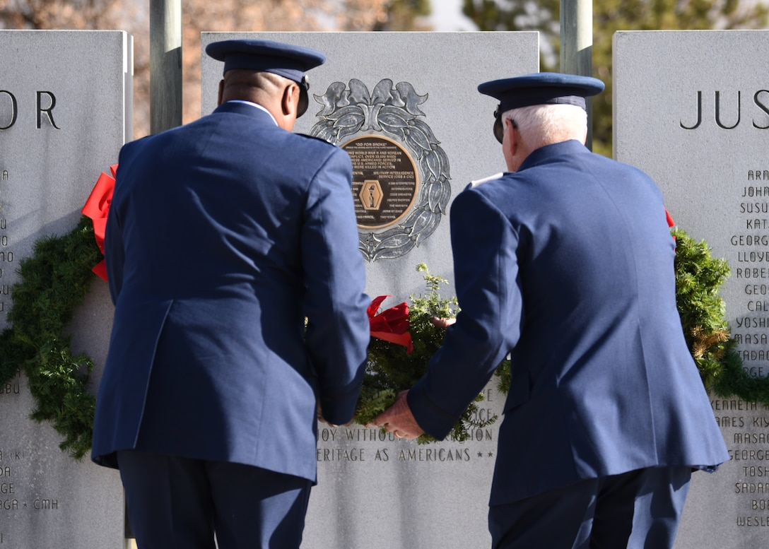 Col. Devin Pepper, 460th Space Wing commander (left), and Maj. Norm Teltow, Civil Air Patrol Mile High Squadron 143 commander (right), place a wreath on a memorial at Fairmount Cemetery in Denver, Dec. 14, 2019.