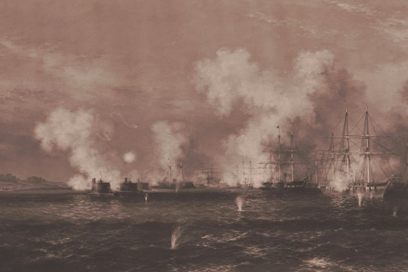 A view of the naval attack on Fort Fisher during the Civil War.