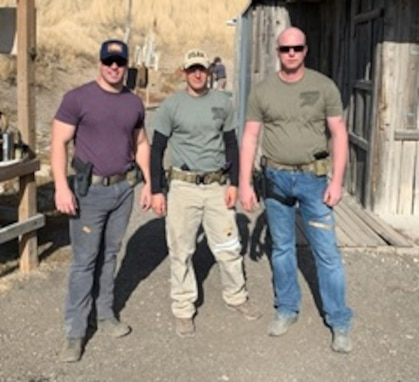 From left to right, Sgt. Jordan Wamsley, Sgt. 1st Class Thomas Walsh, and Sgt. Cord Craig of the 744th Engineer Company (301st Maneuver Enhancement Brigade, 416th TEC) find that participating in local shooting competition spurns on Soldier interest, improves retention, and enhances readiness.