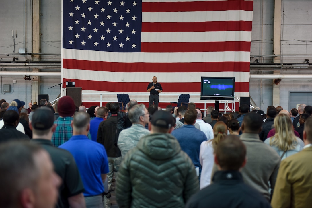 South Carolina Air National Guard personnel assemble in the aircraft hangar to participate in personal resilience training.