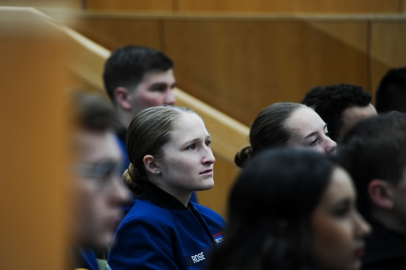 An Air Force Academy cadet listens intently to a guest speaker during the National Character and Leadership Symposium at the US Air Force Academy, 23 February 2018. The two-day symposium provided an opportunity for all Academy personnel, visiting university students and faculty, and community members to experience dynamic speakers and take part in group discussions to enhance their own understanding of the importance of sound moral character and good leadership. (US Air Force photo by TSgt Julius Delos Reyes)