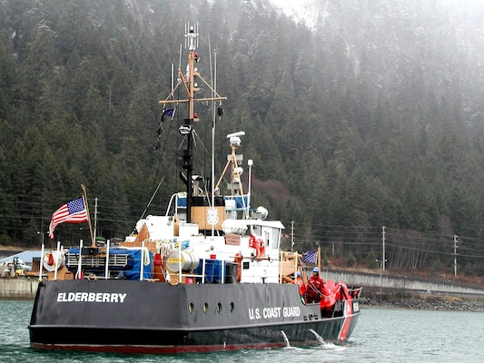 JUNEAU, Alaska - The crew of the Coast Guard Cutter Elderberry (WLI 65401) prepare to set seasonal buoys along the Mendenhall Bar.  USCG photo by PA3 Christopher Grisafe