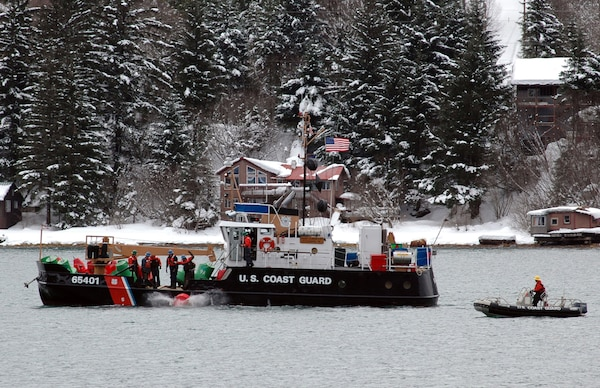 JUNEAU, Alaska - The crew of the Coast Guard Cutter Elderberry sets buoys March 22, 2007 marking the onset of spring and the upcoming recreational boating season in the Gastineua Channel. Official Coast Guard photo by Petty Officer Eric J. Chandler