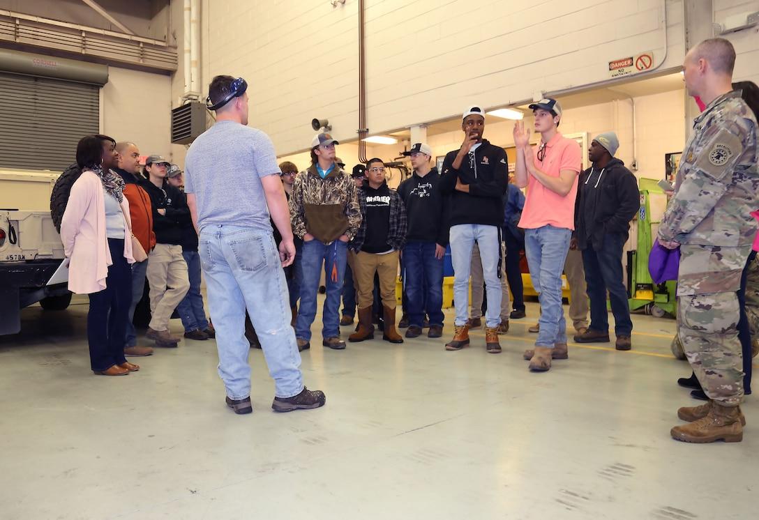 Dorchester students visit Army Reserve maintenance facility
