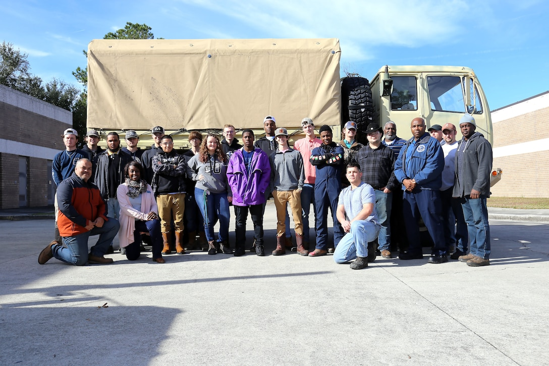 Dorchester students visit Army Reserve maintenance facility