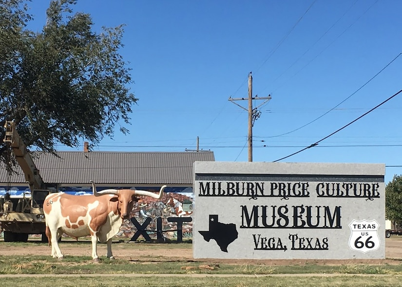 An excess slab of granite is now standing as the sign for the Milburn Price Culture Museum.