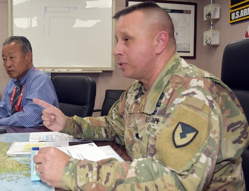 Lt. Col. John Ruths, commander, AFSBn-NEA, discusses Army Prepositioned Stocks operations.