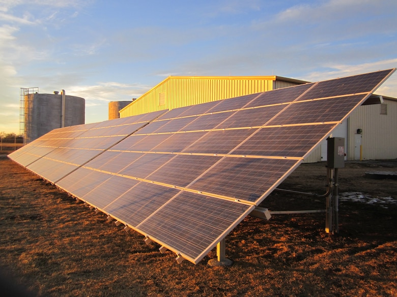 Three solar arrays, including this one at the Main Treatment Plant, help power groundwater treatment at Mead, resulting in a savings of over 500,000 kilowatt hours of energy to date.