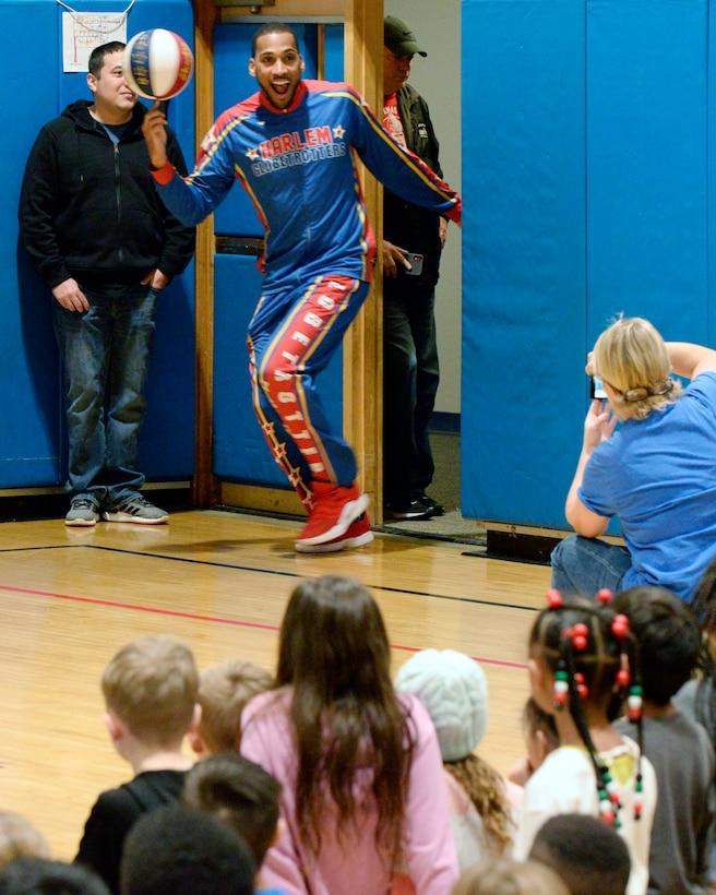 Harlem Globetrotter visits Wright-Patt
