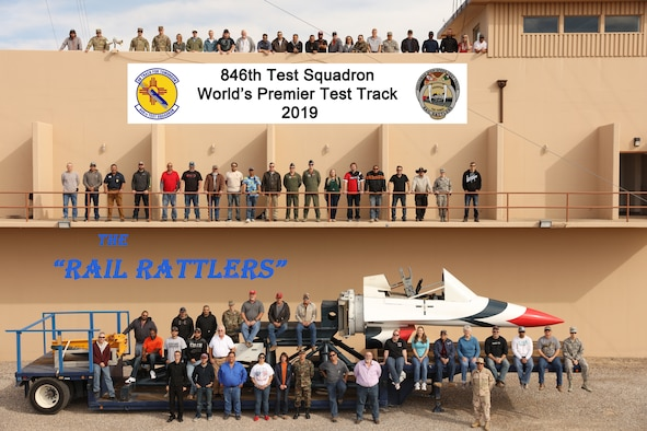 "A few miles north of main base at Holloman Air Force Base in the Tularosa Basin of southern New Mexico, the 846th Test Squadron, known as the ""Holloman High Speed Test Track,"" or more affectionately (and recently) the ""Rail Rattlers,"" prides itself on planning and executing high-speed rocket sled tests, enabling critical weapon system development in support of the warfighter. (U.S. Air Force photo illustration)"