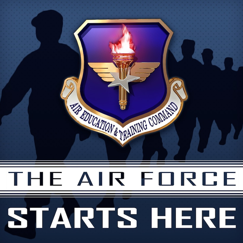 """The Air Force Starts Here"" is Air Education and Training Command's professional development podcast. The professional development podcasts are designed to help communicate and inform Total Force Airmen across the globe on relevant, timely topics related to the recruiting, training, education and development fields and can be listened to on the government network on the AETC website, or via mobile application as well as on Apple Podcasts (iTunes). For Android or Google mobile users, the podcast can be found on their favorite third-party podcast phone application. (U.S. Air Force graphic / 1st Lt. Robert Guest)"