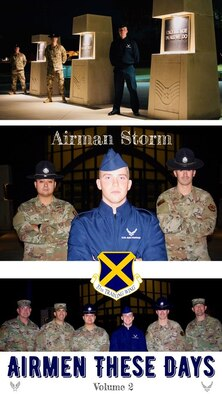 Airman Haakon Storm poses for a photos with his military training instructors outside the Pfingston Reception Center, Joint Base San Antonio-Lackland, Texas. Storm graduated at Top Graduate of more than 750 Airmen at basic military training graduation, Nov. 1.