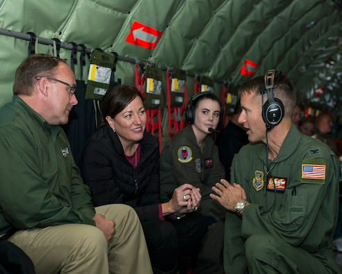 U.S. Air Force Col. Stephen Snelson, the 6th Air Refueling Wing (ARW) commander, talks with 6th ARW civic leaders aboard a KC-135 Stratotanker aircraft from MacDill Air Force Base, Fla., Dec. 17, 2019.