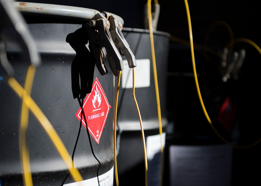 Hazardous material drums are stored in a holding facility Dec. 16, 2019, at Luke Air Force Base, Ariz.
