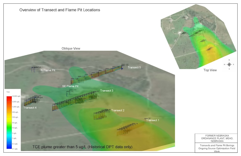 Preliminary model output showing 2D and 3D membrane interface and hydraulic profiling tool (MiHPT) locations from the AMA overlaid on the existing plume boundary. Once field work is complete, the groundwater model will be updated to refine the plume boundary and improve the accuracy of overall cleanup times.