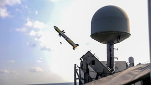 A Griffin missile is launched from the patrol coastal ship USS Hurricane (PC 3) during a test of the MK-60 Griffin guided-missile system. The exercise demonstrated a proven capability for the ships to defend against small boat threats and ensure maritime security through key chokepoints in the U.S. Central Command area of responsibility, connecting the Mediterranean and the Pacific through the western Indian Ocean and three strategic choke points.