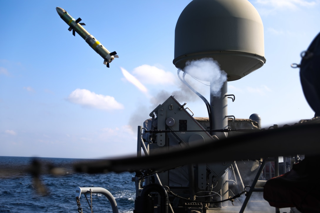 A Griffin missile is launched from the patrol coastal ship USS Whirlwind (PC 11) during a test of the MK-60 Griffin guided-missile system. The exercise demonstrated a proven capability for the ships to defend against small boat threats and ensure maritime security through key chokepoints in the U.S. Central Command area of responsibility.