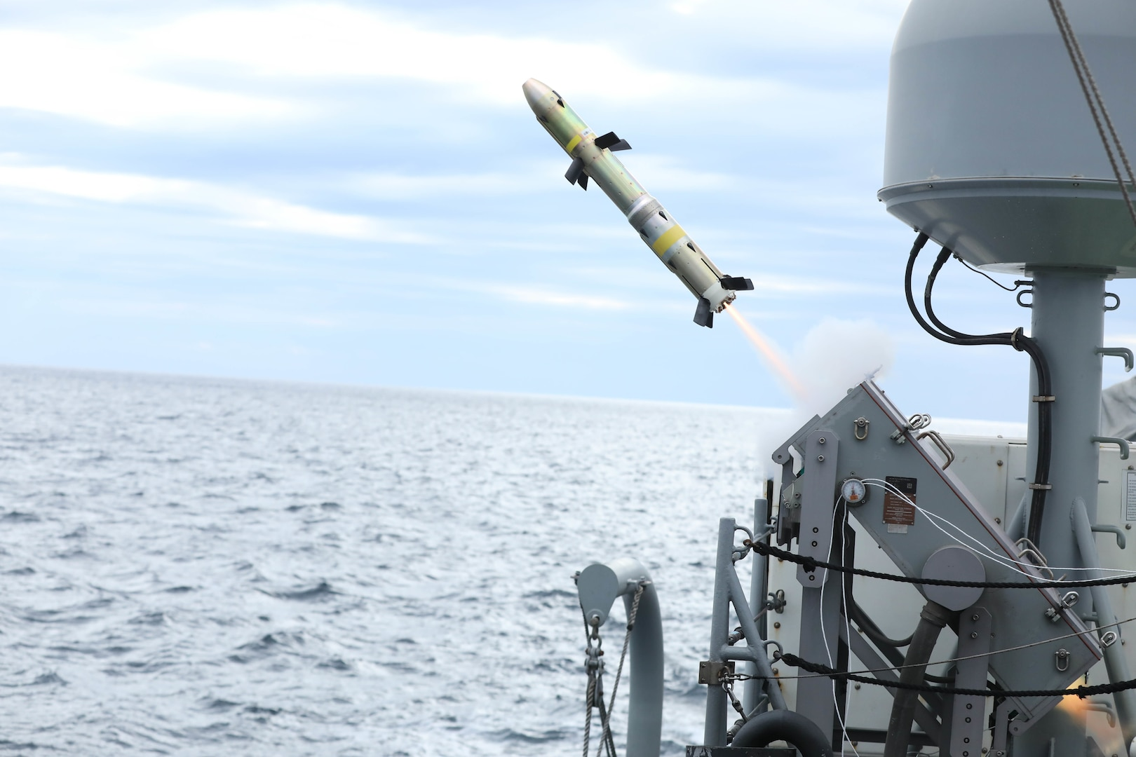 A Griffin missile is launched from the patrol coastal ship USS Hurricane (PC 3) during a test of the MK-60 Griffin guided-missile system. The exercise demonstrated a proven capability for the ships to defend themselves against small boat threats and ensure maritime security through key chokepoints in the U.S. Central Command area of responsibility.