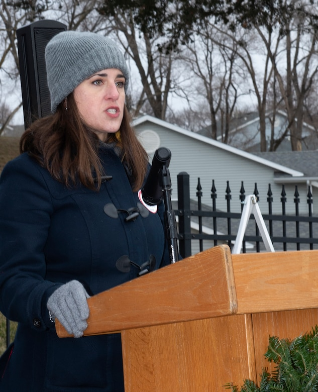 Photo of a Offutt Officer's Spouses Club member speaking at National Wreaths Across America Ceremony at Offutt Air Force Base