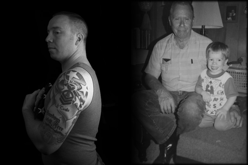 Photo of an Airman displaying a tattoo that represents his grandfather and military service