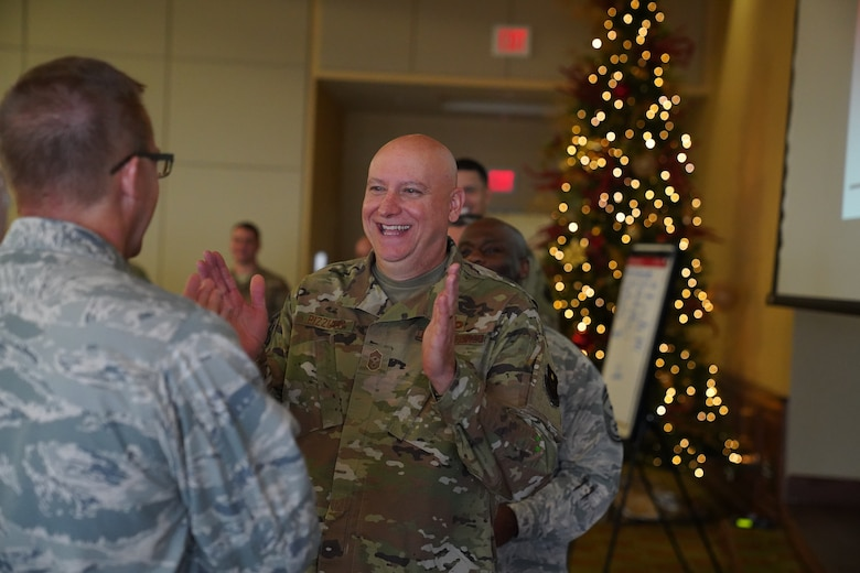 Chief Master Sgt. David Pizzuto, 81st Training Wing command chief, participates in Improv to Improve course in the Bay Breeze Event Center at Keesler Air Force Base, Mississippi, Dec. 10, 2019. Improv to Improve is an improvisation comedy resiliency class that engages military members in a safe interactive learning environment. The purpose of the class is to help combat life stress and adversity in an unconventional way. (U.S. Air Force photo by Airman 1st Class Spencer Tobler)