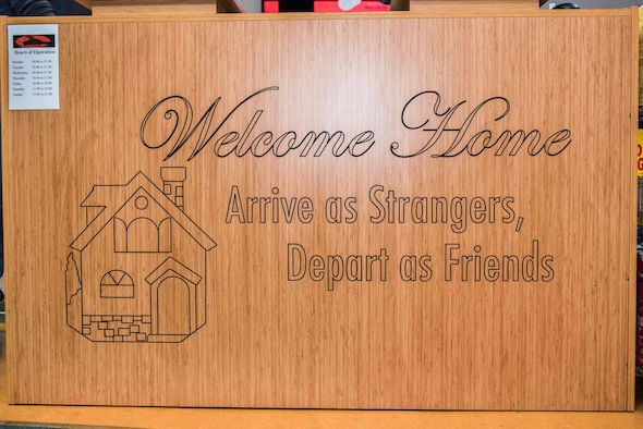A welcome sign adorns the front desk at Titan's Refuge Ministry Center Dec. 18, 2019, at Incirlik Air Base, Turkey. The Titan's Refuge offers military members and civilian employees on the installation a place to decompress and socialize with colleagues. Airman ministry centers, such as the Titan's Refuge, serve as places where Airmen decompress from the stressors of daily life. (U.S. Air Force photo by Staff Sgt. Joshua Magbanua)