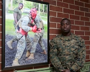 Cpl. Rushane Thompson is a martial arts instructor at Marine Corps Logistics Base Albany. Combat marksmanship, motor transport operator, company clerk and license examiner are among the other roles and duties he has embraced. (U.S. Marine Corps photo by Jennifer Parks)