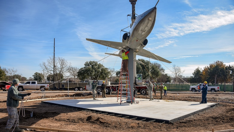 T-38 Talon static display installed at Sheppard AFB Main Gate