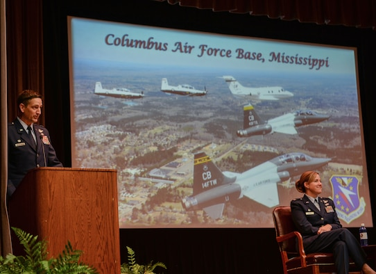 Col. Stephen Hodge, 314th Airlift Wing commander, delivers a speech at the graduation ceremony of Specialized Undergraduate Pilot Training Class 20-04/05, Dec. 13, 2019, at Columbus Air Force Base, Miss. Hodge referenced Air Force heroes such as Col. John Boyd and Lt. Col. William Boyd Jr. during his speech. (U.S. Air Force photo by Airman Davis Donaldson)