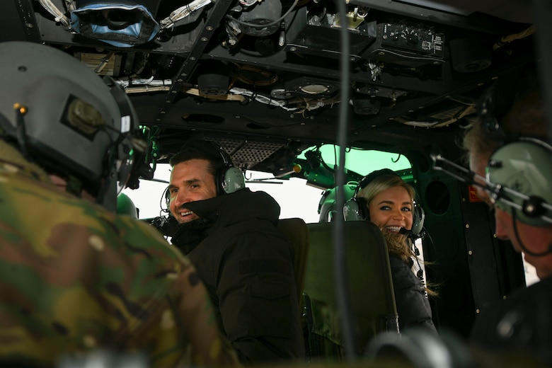 Ryan Zimmerman (left), Washington Nationals first baseman, and his wife, Heather, ride in a 1st Helicopter Squadron UH-1N Iroquois during a World Series display event at Joint Base Andrews, Md., Dec. 17, 2019. Zimmerman spent the afternoon on base and met Airmen, signed autographs and took photos with fans. (U.S. Air Force photo by Airman 1st Class Essence Myricks)