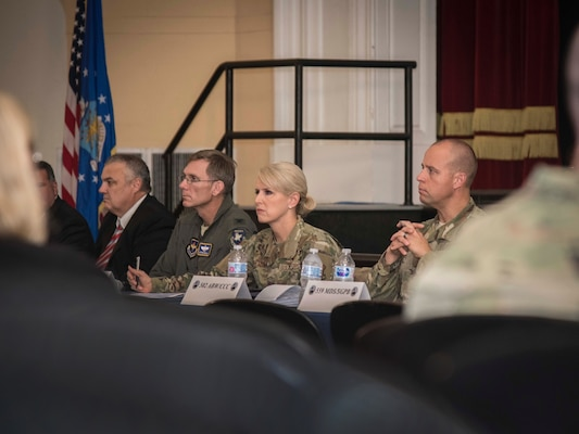 Brig. Gen. Laura Lenderman, 502d Air Base Wing and Joint Base San Antonio commander, and her leadership team, host a housing town hall Dec. 12, 2019 at the Fleenor Auditorium, JBSA-Randolph. These town halls here implemented to listen to concerns and update residents on the ongoing measures being taken to ensure safe and healthy homes at JBSA.
