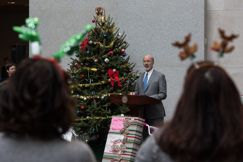 Pennsylvania Governor Tom Wolf speaks during a ceremony for the 30th Annual Holiday Wish Program.
