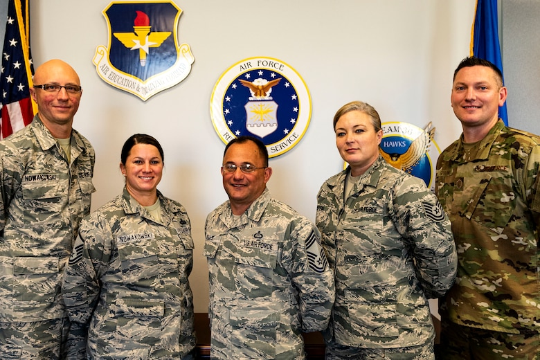 A photo of Airmen assigned to the 336th Recruiting Squadron posing for a photo.