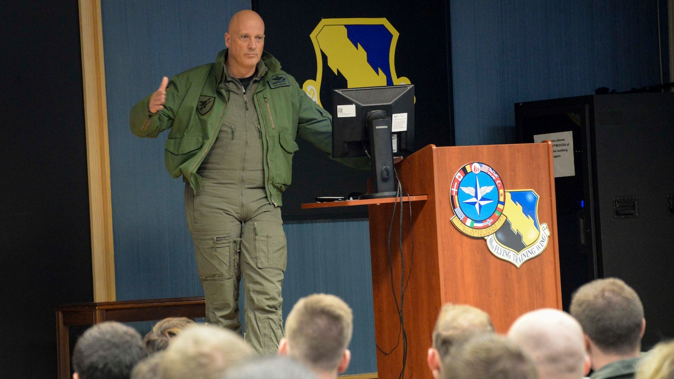 Lt. Gen. Ingo Gerhartz, chief of staff for the German air force, speaks to German student pilots, instructors and permanent party stationed at Sheppard Air Force Base, Texas, Dec. 13, 2019. Also in the audience were members of the GAF tactical training center headquarters, which recently transferred here from Holloman AFB, New Mexico. (U.S. Air Force Photo by 2nd Lt. Megan Morrissey)
