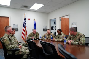 Chief Master Sgt. David Wolfe, 11th Air Force Command Chief Master Sgt., meets with the 15th Maintenance Group on Joint Base Pearl Harbor-Hickam, Hawaii, Dec. 17, 2019. The purpose of the meeting was to inform him on the mission, as well as the challenges the unit faces. (U.S. Air Force photo by Airman 1st Class Erin Baxter)