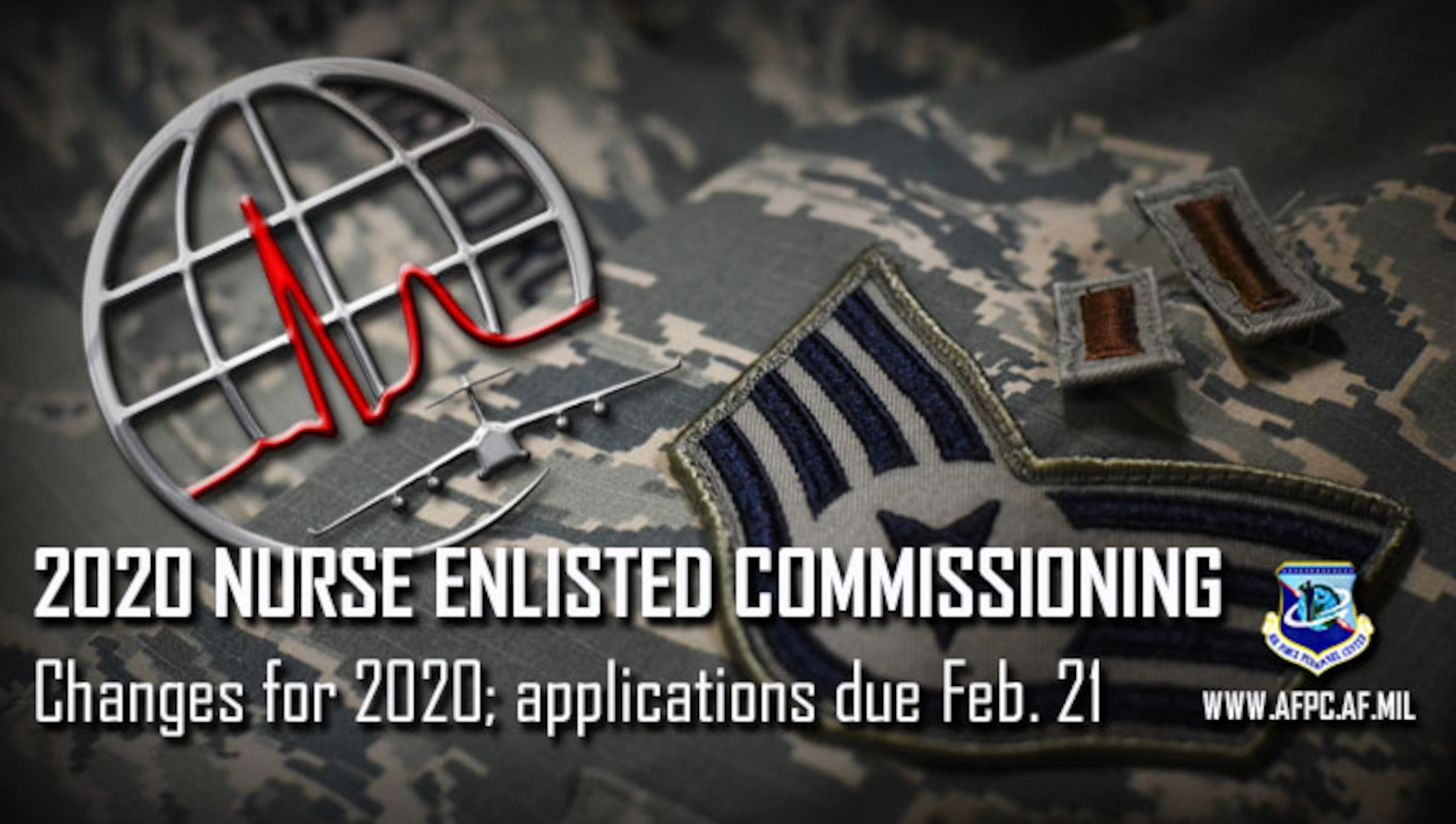 Graphic depicting the news release on the Academic Year 2020 Nurse Enlisted Commissioning Program requirements