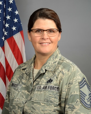 Portrait of U.S. Air Force Chief Master Sgt. Sarah Edwards, assigned to the Joint Forces Headquarters at McEntire Joint National Guard Base, S.C., Nov. 19, 2019.