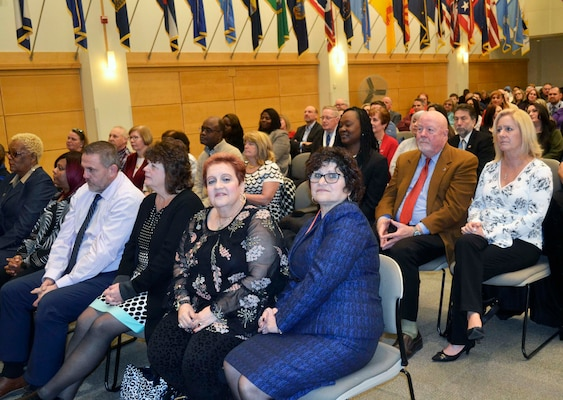 The Defense Logistics Agency Troop Support celebrated the retirement of 16 civilians during a ceremony on Dec. 19, 2019 at its headquarters in Philadelphia. The retirees have a combined 515 years of service to the federal government.