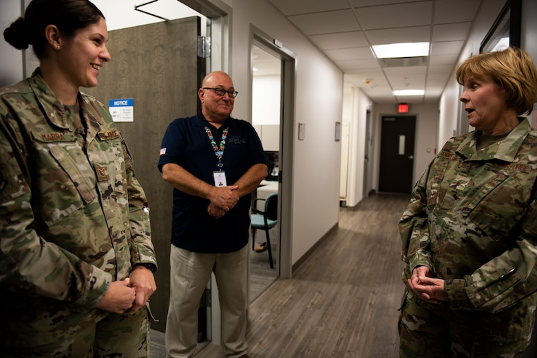 U.S. Air Force Staff Sgt. Ashlyn Marra, left, and Dr. Brant Casford, 325th Medical Support Squadron radiology technician, brief new improvements to U.S. Air Force Brig. Gen. Sharon Bannister, Air Combat Command Surgeon General, at Tyndall Air Force Base, Florida, Dec. 18, 2019. The 325th Medical Group's radiology unit has recently expanded their equipment inventory and added an entire section specifically for women's care to include ultrasound and mammogram technology. (U.S. Air Force photo by Staff Sgt. Magen M. Reeves)
