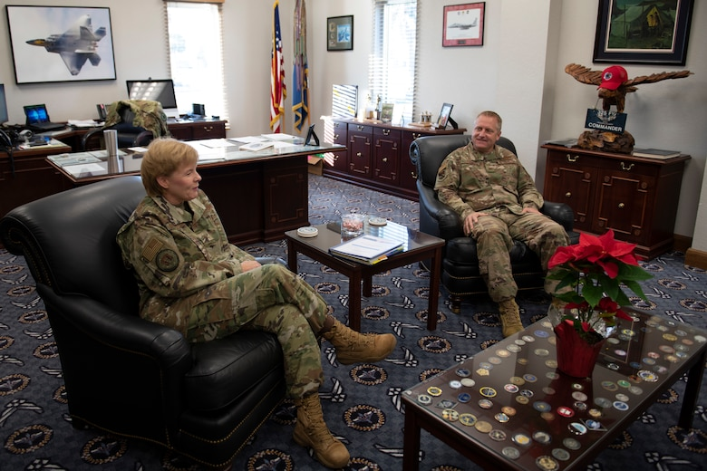 U.S. Air Force Brig. Gen. Sharon Bannister, Air Combat Command Surgeon General, center, poses for a photo with U.S. Air Force Col. Brian Laidlaw, 325th Fighter Wing commander, right, at Tyndall Air Force Base, Florida, Dec. 19, 2019. Bannister toured the 325th Medical Group and met with Airmen, responded to questions, and viewed facilities currently operational. (U.S. Air Force photo by Senior Airman Stefan Alvarez)