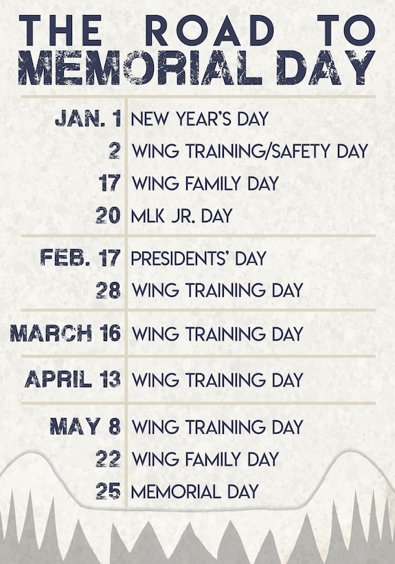A graphic of the 23d Wing calendar for the first five months of 2020