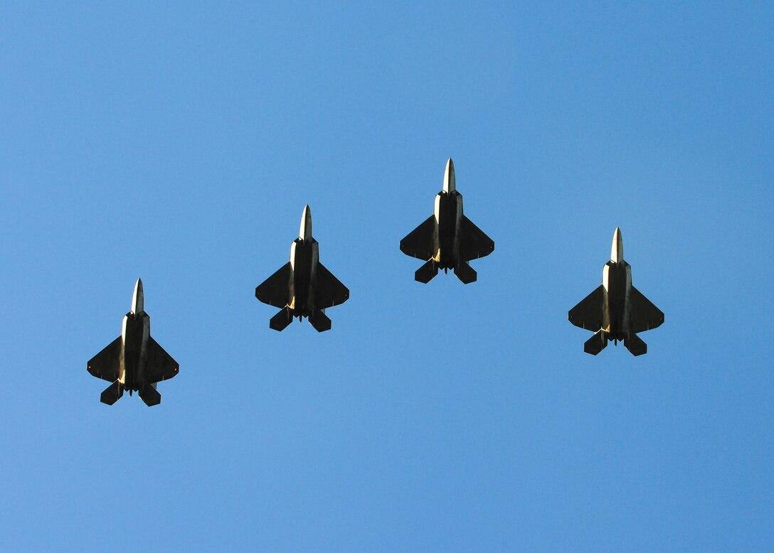 F-22 Raptors soar overhead