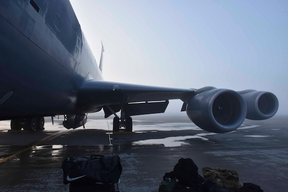 A KC-135 Stratotanker is parked on the flightline at Fairchild Air Force Base, Washington, Nov. 22, 2019. The KC-135 flew to Tinker Air Force Base, Oklahoma, for programmed depot maintenance and upgrades to the aircraft to increase functionality and longevity, and maintain safety of Team Fairchild's Airmen. (U.S. Air Force photo by Airman Kiaundra Miller)