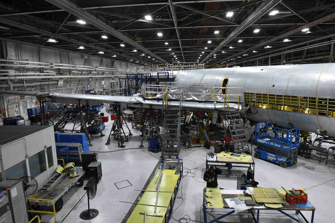 A KC-135 Stratotanker undergoes programmed depot maintenance at the Oklahoma City Air Logistics Complex at Tinker Air Force Base, Oklahoma, Nov. 23, 2019. During PDM, each KC-135 undergoes a series of inspections, upgrades to the aircraft, and a flight test to ensure proper functionality. (U.S. Air Force photo by Airman Kiaundra Miller)