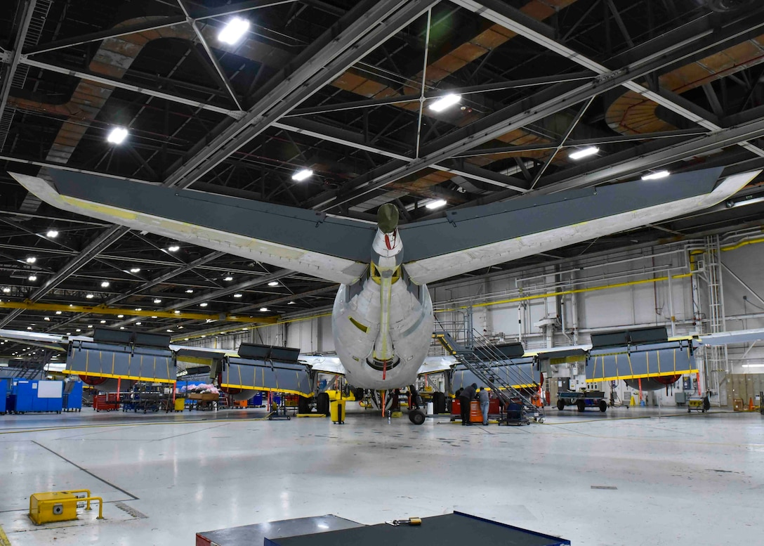 A KC-135 Stratotanker is parked inside a maintenance hangar prior to a test flight at the Oklahoma City Air Logistics Complex on Tinker Air Force Base, Oklahoma Nov. 23, 2019. After going through programmed depot maintenance, each aircraft must be taken on a test flight to ensure it is safe for long-term use. (U.S. Air Force photo by Airman Kiaundra Miller)